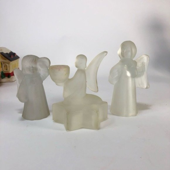 Lot of 3 Vintage frosted glass angels